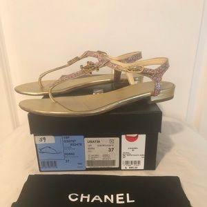 Chanel Gold Multi Color Glitter CC Thong Sandal
